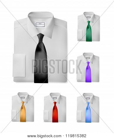Folded shirt set with tie