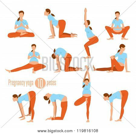 Pregnancy yoga. Yoga for pregnant women. Doing Stretches and Light Weight Aerobics. Yoga Exercises. Vector illustration. Woman yoga. Special yoga asana. Pregnancy asana. Vector yoga poses. Yoga class or yoga studio.