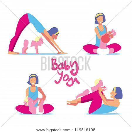 Baby yoga set. Mom with a child engaged in exercises of yoga for the baby health. Vector illustration. Vector yoga poses. Yoga class or yoga studio. Baby yoga concept. Mother and child is engaged in yoga. Set of yoga asanas.