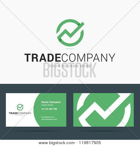 Logo and business card template for trade company.