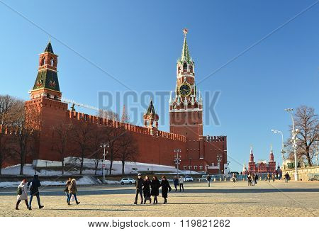 Moscow, Russia -February 18.2016. View of the Kremlin from the Vasilyevsky Spusk
