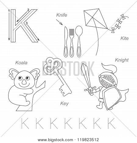Tracing Worksheet for children. Full english alphabet from A to Z pictures for letter K the colorless version.
