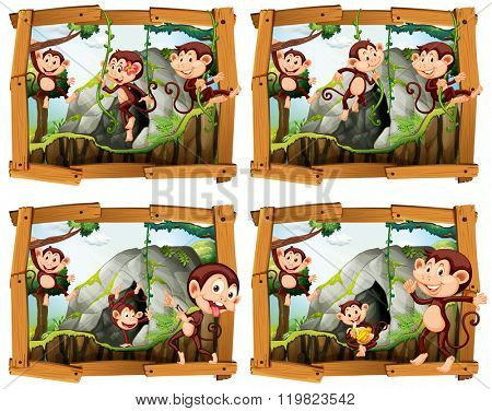 Four frames of monkeys by the cave illustration