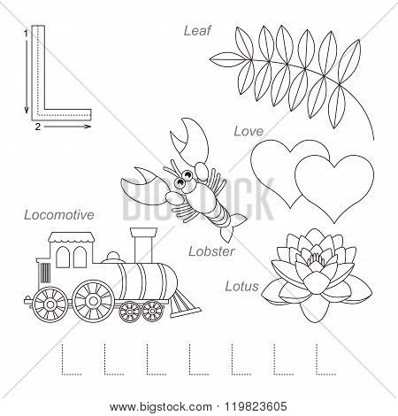 Tracing Worksheet for children. Full english alphabet from A to Z pictures for letter L the colorless version.