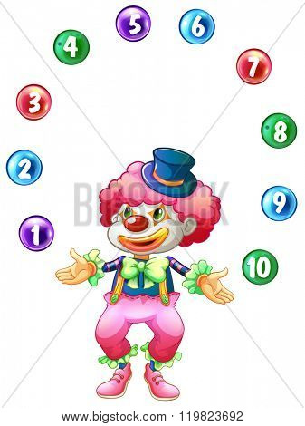 Jester juggling balls with numbers illustration poster