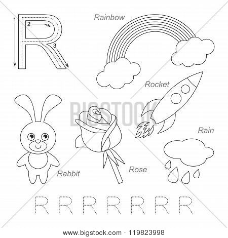 Tracing Worksheet for children. Full english alphabet from A to Z pictures for letter R the colorless version. poster