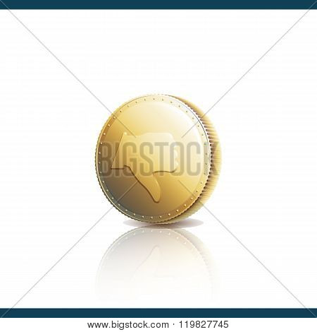 Thumb Down On Gold Coin