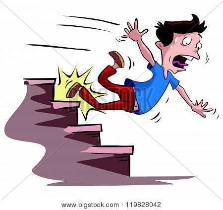 men slipped on the stairs