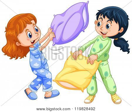 Two girls playing pillow fight at slumber party illustration