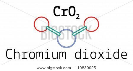 CrO2 chromium dioxide 3d molecule isolated on white