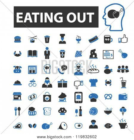 eating out icons, eating out logo, eating out vector, eating out flat illustration concept, eating out infographics, eating out symbols,