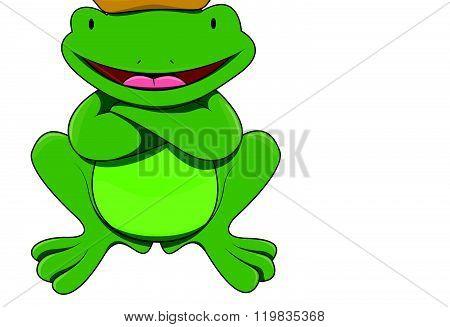 King frog cartoon illustration isolated white