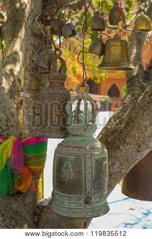 Wishing Bells In A Budhist Temple.