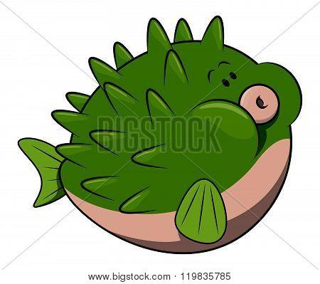 Puffer fish cartoon illustration isolated white