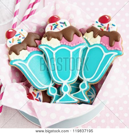 Cookies with a retro ice cream sundae theme