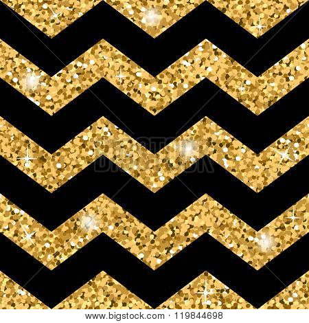 Zigzag Seamless Pattern Gold Glitter And Black Template