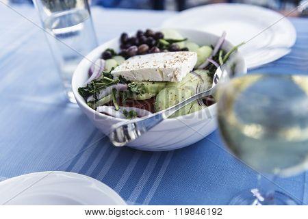 Fresh Greek Salat On The Plate