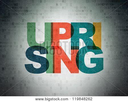 Politics concept: Uprising on Digital Paper background