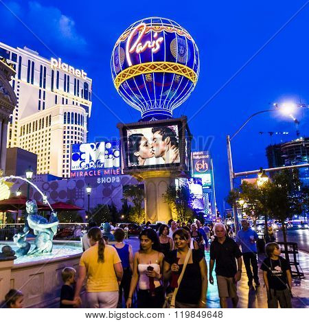 Hotel Paris Vegas With The Eiffel Tower And Gambling Place On The Las Vegas Strip In The Late Aftern