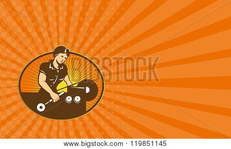 Business Card Female Machinist Worker Lathe Machine