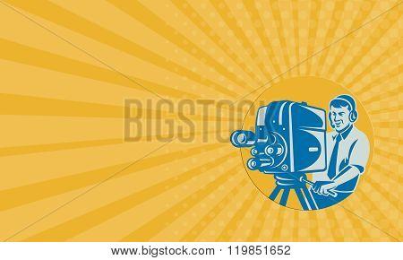 Business Card Film  Crew Tv Cameraman With Movie Camera Retro
