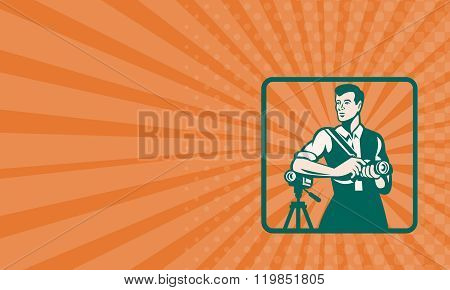 Business Card Photographer With Dslr Camera And Video Retro