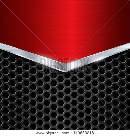 Red chrome metal background vector illustration