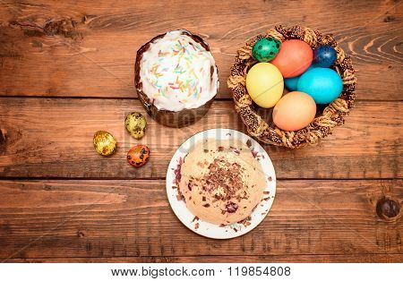 Easter cake, quark dessert and easter eggs on the table