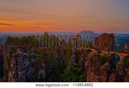 Elbe Sandstone Mountains With Bastei