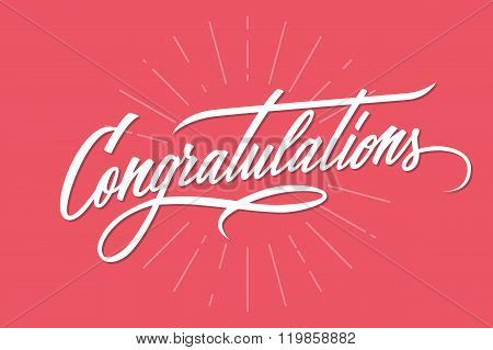 Congratulations. Hand lettering. Calligraphic greeting inscription. Vector handwritten typography. poster