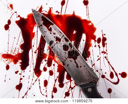 Murder concept - knife with blood on white background, close-up.
