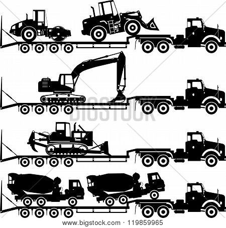 Set of silhouettes auto transporter and heavy construction machines isolated on white background in
