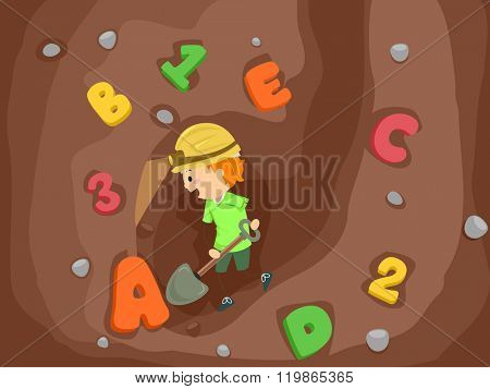 Stickman Illustration of a Kid Boy Using a Shovel to Dig Numbers and Letters