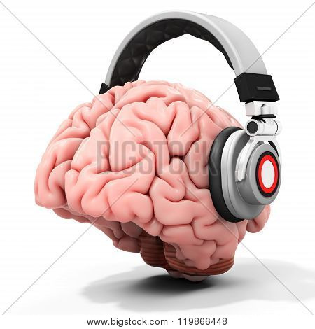 3D Human Brain With Headphones