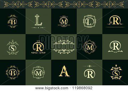 Monogram Design Elements, Graceful Template. Elegant Line Art Logo Design. Letter B, L, R, A, S, M