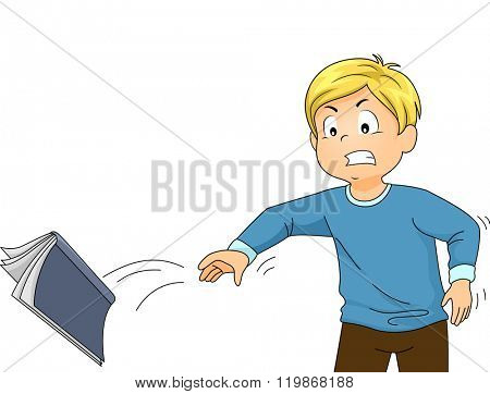 Illustration of a Mad Boy Throwing His Book due to too much stress from studying