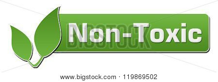 Non toxic words written over green background with leaves symbols. poster