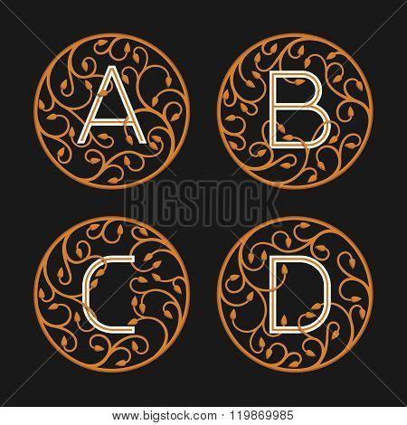 Decorative Initial Letters A, B, C, D.