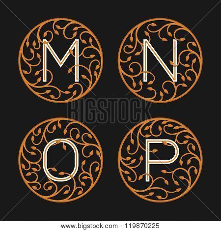 Decorative Initial Letters M, N,O, P.