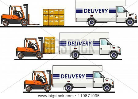 The process of loading with forklift, truck, van and boxes isolated on white background in flat styl