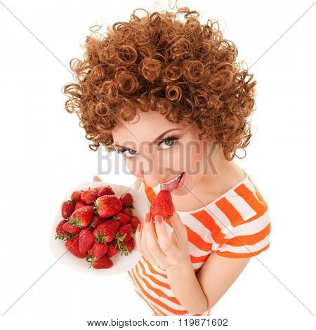un woman with strawberry on the white background
