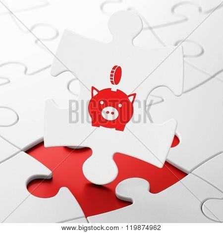 Money concept: Money Box With Coin on puzzle background