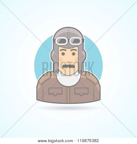 Vintage pilot man, airman outfit example icon. Avatar and person illustration. Flat colored outlined