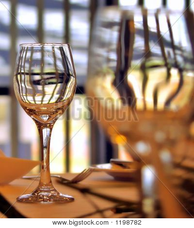 Wine Glasses At Business Lunch