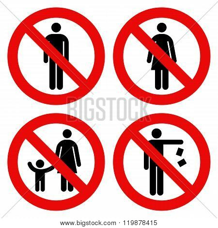 No Man Sign, No Woman Sign, Parent And Child Sign, No Littering Sign. Prohibited Signs