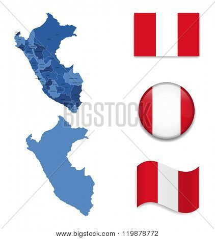 High Detailed Map of Peru With Flag Collection