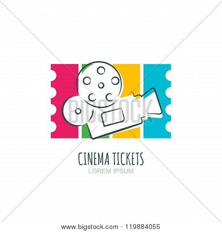Cinema Ticket Flat Illustration. Vector Logo, Icon, Label Design Elements.