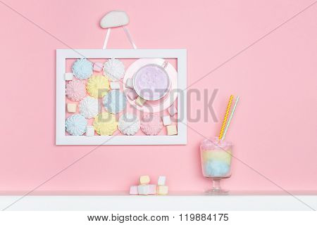 Cup of the wall. Minimal style. Vanilla candy. Pastel marshmallows