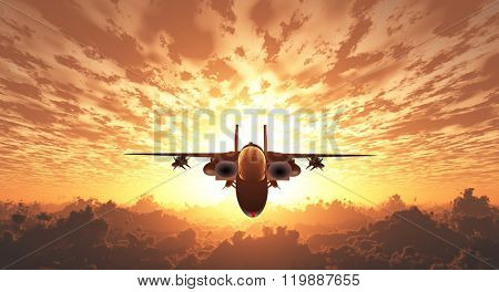 Military Jet  in Flight Sunrise or sunset