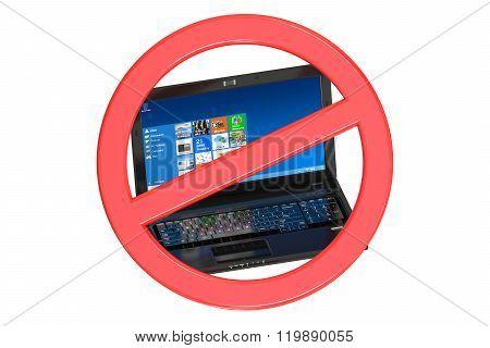 No Laptop Prohibition Sign
